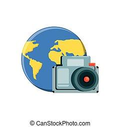 terre planète, appareil photo, photographique, mondiale