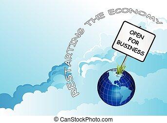 terre planète, business, ouvert