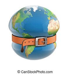 terre planète, ceinture, serrage