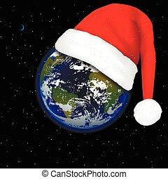 terre planète, claus, chapeau, santa