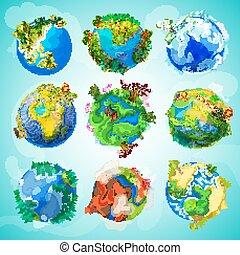 terre planète, coloré, collection