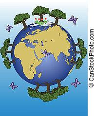 terre planète, continents