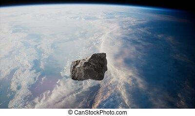 terre planète, dangereux, approchant, astéroïde