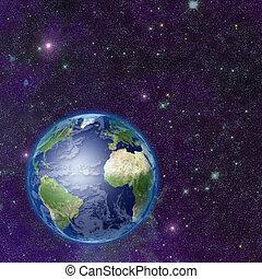 terre planète, dans, espace
