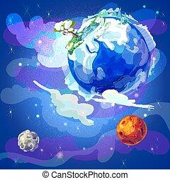terre planète, dessin animé, gabarit, espace