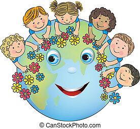 terre planète, enfants, étreindre