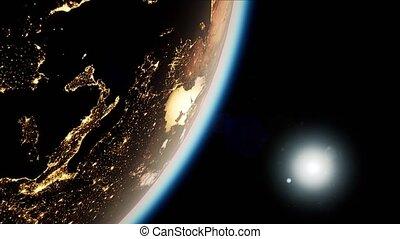 terre planète, espace, nuit, soleil