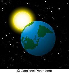 terre planète, espace, soleil