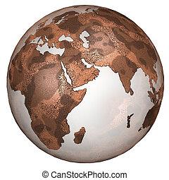 terre planète, est, rouges, textured