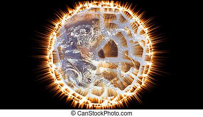 terre planète, exploser, -