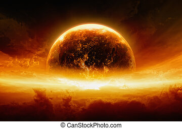 terre planète, exploser, brûlé