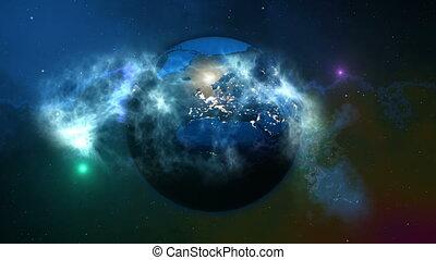 terre planète, extérieur, space.