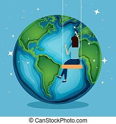 terre planète, femme, jour, balançoire