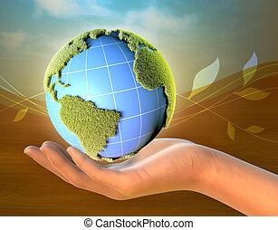 terre planète, femme, tenant main