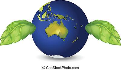 terre planète, feuilles