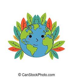 terre planète, feuilles, heureux