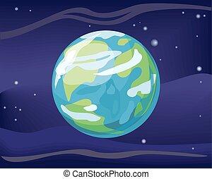 terre planète, fond, espace