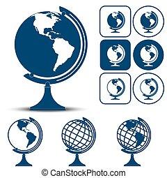 terre planète, globe, illustration, vecteur