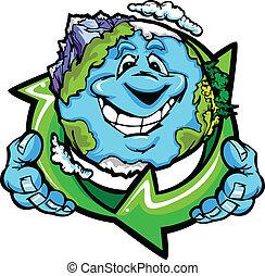 terre planète, heureux, tenue, recycler
