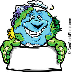 terre planète, heureux, tenue, signe