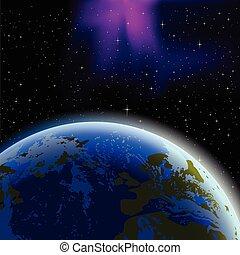 terre planète, horizon, espace