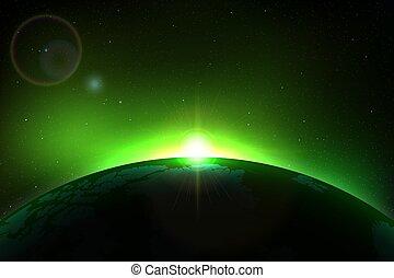 terre planète, levers de soleil