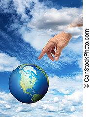 terre planète, main, atteindre