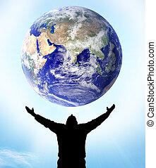 terre planète, main