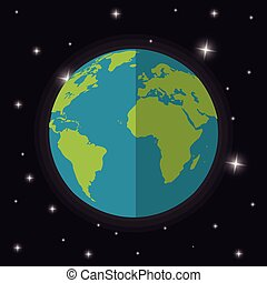 terre planète, mondiale, étoiles, espace