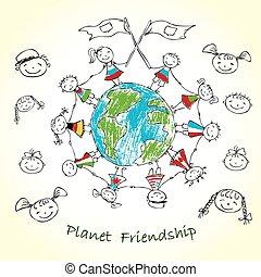 terre planète, multiculturel, enfants