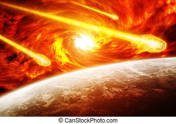 terre planète, nébuleuse, rouges, espace