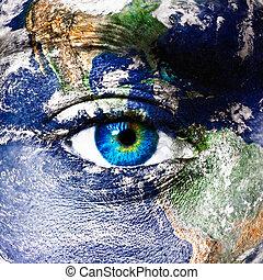 terre planète, oeil, humain