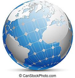 terre planète, panneau solaire