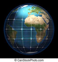 terre planète, panneau solaire, verre
