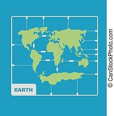 terre planète, plastique, continents, modèle, kit., planisphère, géographie
