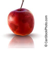 terre planète, pomme, rouges