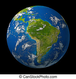 terre planète, projection, amérique, sud