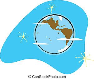 terre planète, retro
