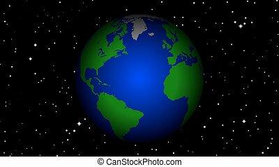 terre planète, rotation, espace