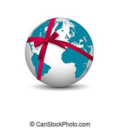 terre planète, ruban, arc rouge
