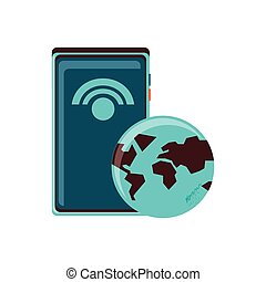 terre planète, signal, smartphone, wifi