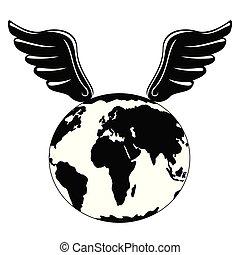 terre planète, silhouette, ailes