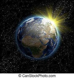 terre planète, soleil, étoiles