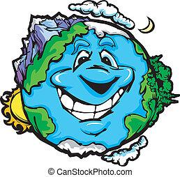 terre planète, sourire heureux