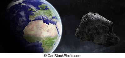 terre planète, sur, astéroïdes, menace