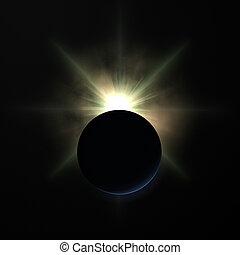 terre planète, sur, levers de soleil