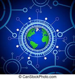terre planète, technologique, panneau