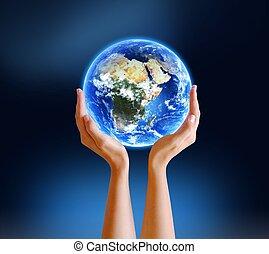 terre planète, tenant mains