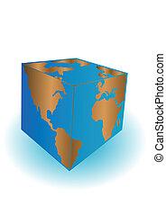 terre planète, vecteur, cubé, illustration