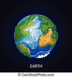 terre planète, vecteur, dessin animé, illustration